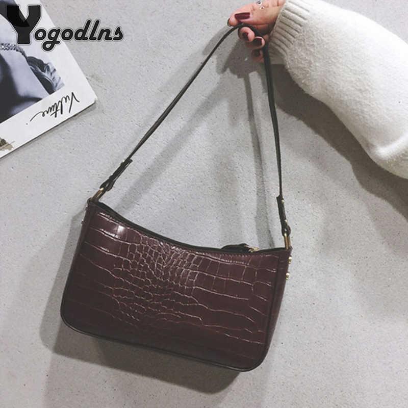 Retro Tas Bahu untuk Wanita Buaya Pola Kulit Ketiak Tas Lanjutan Baguette Tas Desain Fashion PU Tas Wanita Sac