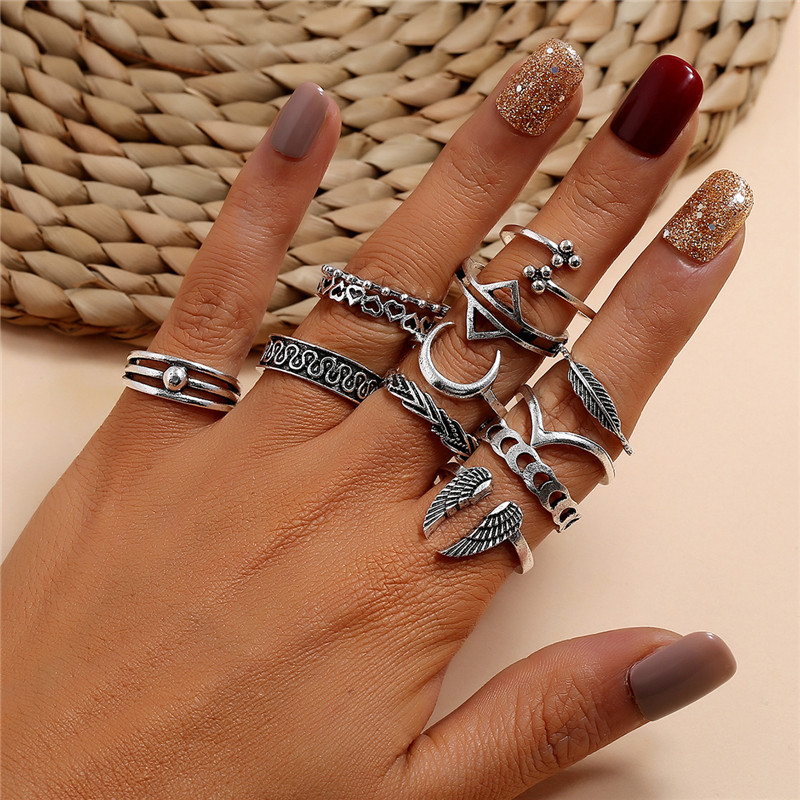 VAGZEB 12 pcs/set Punk Vintage Silver Color Ring for Woman Retro Wings Triangle Moon Geometric Heart Leaf V-shaped Ring Set Herbal Products 2ced06a52b7c24e002d45d: Resizable
