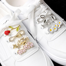 Shoe Jewelry Shoelace Accessories for Women Sneaker Decorations Metal Crystal Rhinestone Roses Small Daisies Flowers Accessories