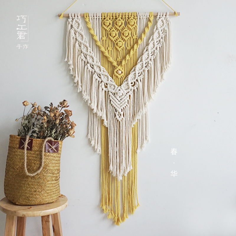 Bohemian Macrame Wall Hanging Tapestry Nordic Hand Made Yellow and Beige Home Wall Hanging Decoration 55*95cm