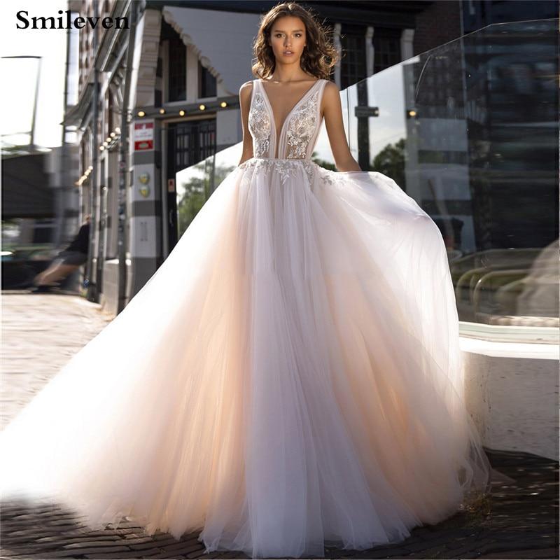 2019 Boho Wedding Dress Appliqued Lace Bridal Dresses Wedding Gown Vestido De Noiva 2019