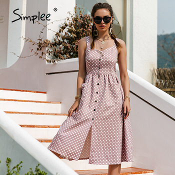 Simplee Casual Polka Dot Dress Sleeveless Holiday style high waist buttoned women's Dress Fashion Mid-length summer dresses NEW 1