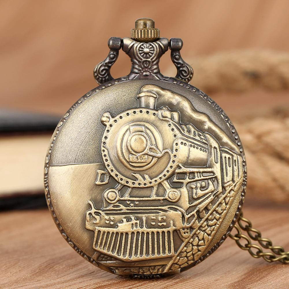 9Types! Luxury Silver Gold Train Carved Steampunk Gears Skeleton Quartz Pocket Watch Pendant Men Clock Women Necklace Chain Gift