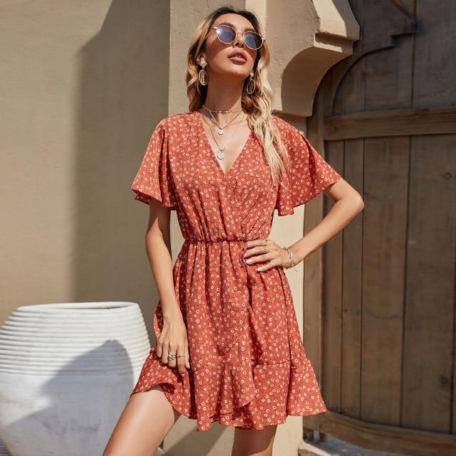 Vestido de fiesta de manga corta y cuello de pico para mujer, de estilo vintage vestido de fiesta, color Naranja, Zara-ing-style za 2020, sheining lolita kawaii Y2K 4