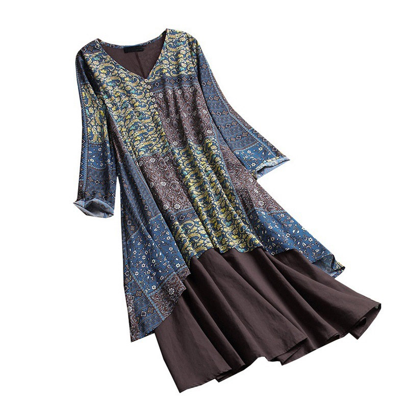 <font><b>plus</b></font> <font><b>size</b></font> 5XL <font><b>8XL</b></font> 9XL 10XL Summer autumn women patchwork <font><b>dress</b></font> long sleeve print floral loose <font><b>dress</b></font> Female navy blue loose <font><b>dress</b></font> image