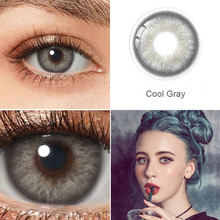 Lentes de contato de cor colorida cinza 1 par para lentes de contato de olhos lentes de contato multicoloridas