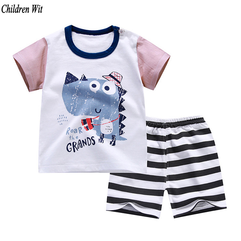 2020 New Summer Baby Clothing Set Cartoon Cotton Baby Boys Clothing Girls Suit Set 0-3 Year Baby Clothes