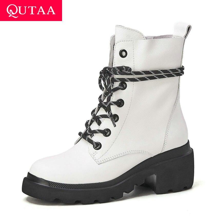 QUTAA 2020 Lace Up Rodada Toe Quadrado Salto Alto Plataforma Ankle Boots Moda Outono Mulheres Casuais Sapatos de Couro de Vaca Tamanho 34-39