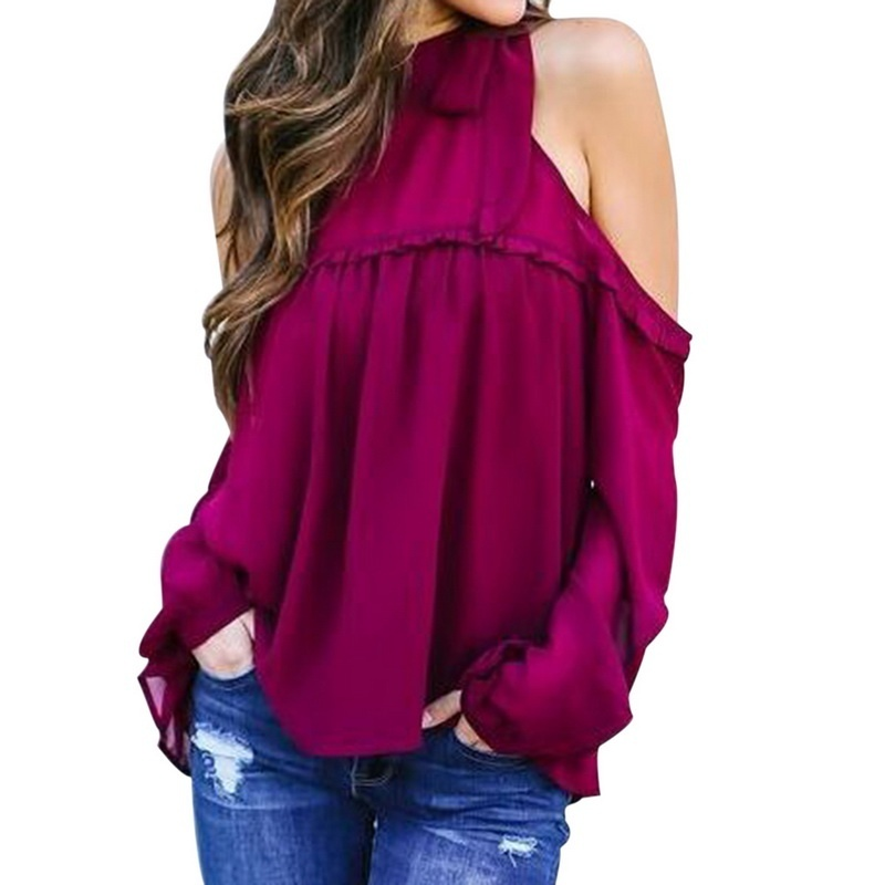 Long Festivals Classics Comfort fashion 2020  Women Ladies Loose Casual Fall Sleeve Chiffon Shirt Off Shoulder blouse Tops 90s