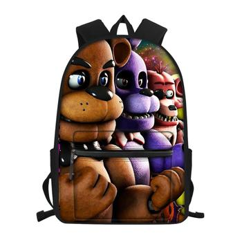 Cartoon Anime Students Canvas Backpack Five Nights At Freddys Pattern Girls School Book Bags Women's Travel Backpacks totoro anime cosplay backpack ogino chihiro cartoon canvas travel backpacks shoulders school bag best students gifts