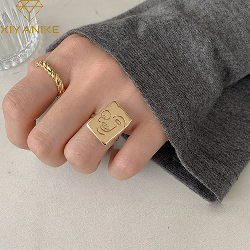 XIYANIKE 925 Sterling Silver Personality Jewelry Fashion Simple Weaving Handmade Rings For Women Couple Wedding Accessories