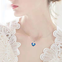 3UM Luxury Designer Women Swan Jewelry Heart Shape With Crystal Pendant Necklace For Women Date Two Color High Quality