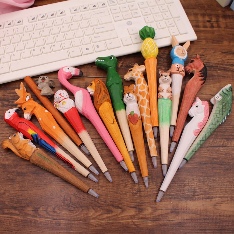 1pcs 0.5mm Cute Pens Handmade Wooden Gel Pen Creative Animals Dog Elephant Kawaii Korean Wood Carving Flamingo Pens For Gifts