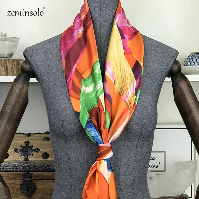 Square Silk Scarf <font><b>90</b></font>*90cm Women Scarves Luxury Brand Striped <font><b>Foulard</b></font> Bandana Hijab Head Soft Satin Silk Scarves Shawls Stoles image