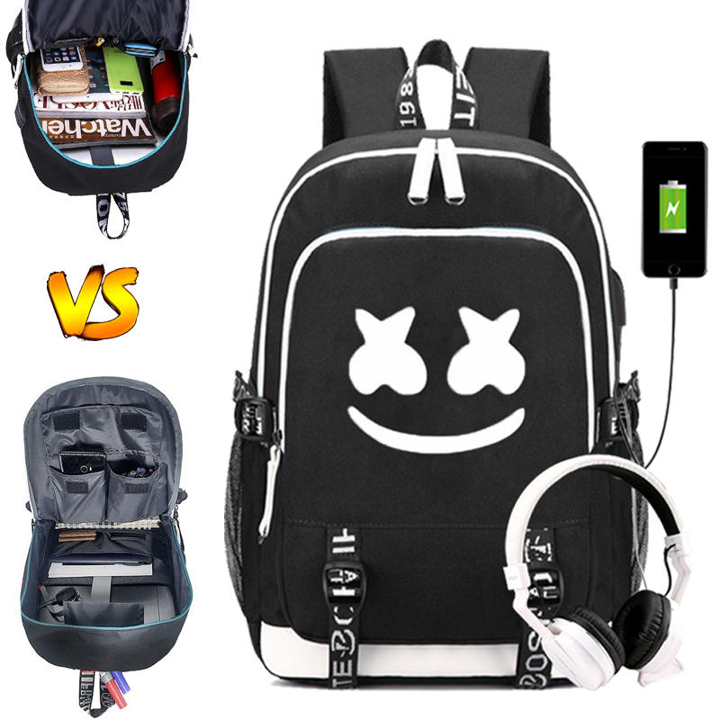 Dj Marshmallow Backpack USB Back To School For Teenager Students Schoolbag Luminous Backpack Travel Portable Rucksack
