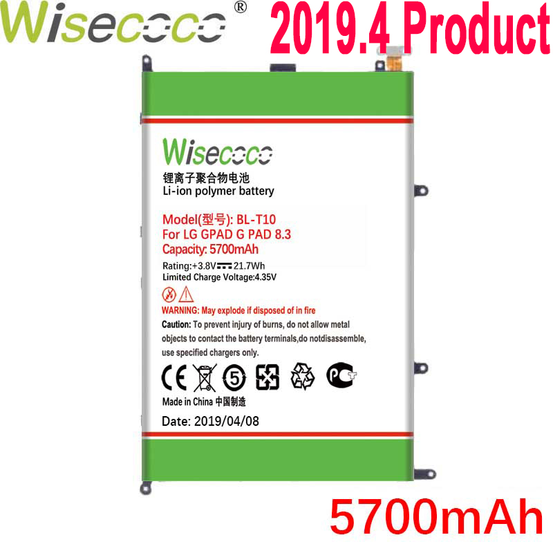 Wisecoco 5700mAh <font><b>BL</b></font>-<font><b>T10</b></font> Battery For LG GPAD G PAD 8.3 VK810 V500 Phone Latest Production High Quality Battery+Tracking Number image