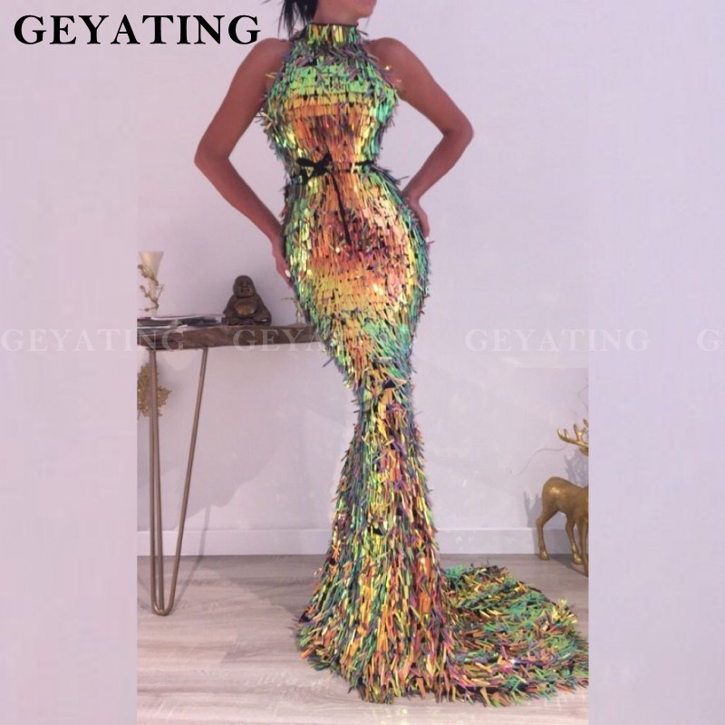 Super Deal Sparkly Sequin Mermaid Prom Dresses 2019 African
