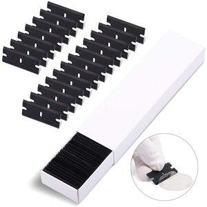 Image 3 - FOSHIO cuchillas de plástico de doble filo para envoltura de fibra de carbono, película de afeitar, raspador de pegamento, eliminador de burbujas, espátula, herramientas para película de ventana, 100 Uds.