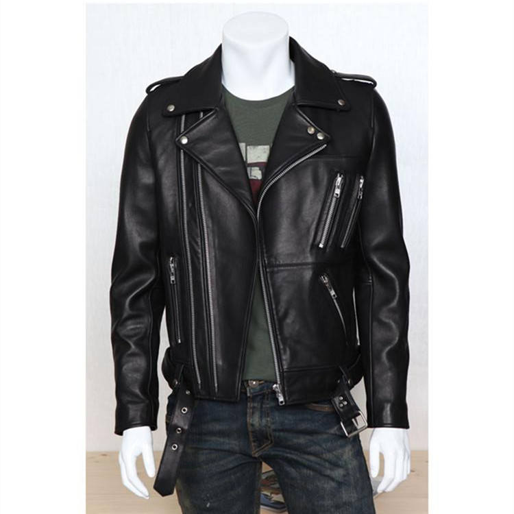 Europe And America Fashion Leather Coat Autumn And Winter New Products Elegant Men Locomotive Leather Coat Multi-Zipper Fold-dow