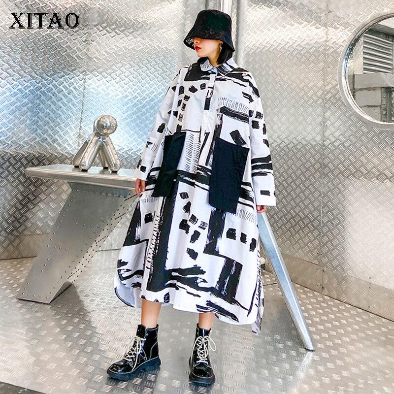 XITAO Print Patchwork Plus Size Dress Women Loose Fashion Turn Down Collar 2020 New Autumn Full Sleeve Dress Goddess ZP2588