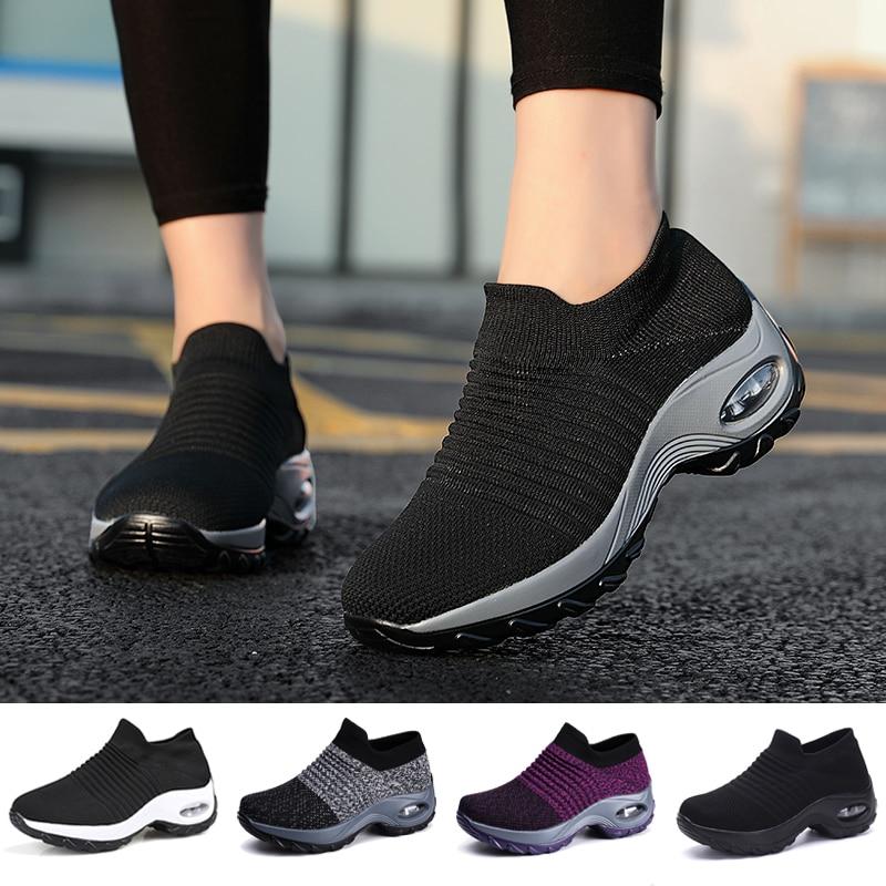 Tennis Shoes For Women Platform Sneakers Spor Ayakkabi Bayan Ourdoor Sports Solid Color Breathable Sock Footwear Zapatos Mujer 1