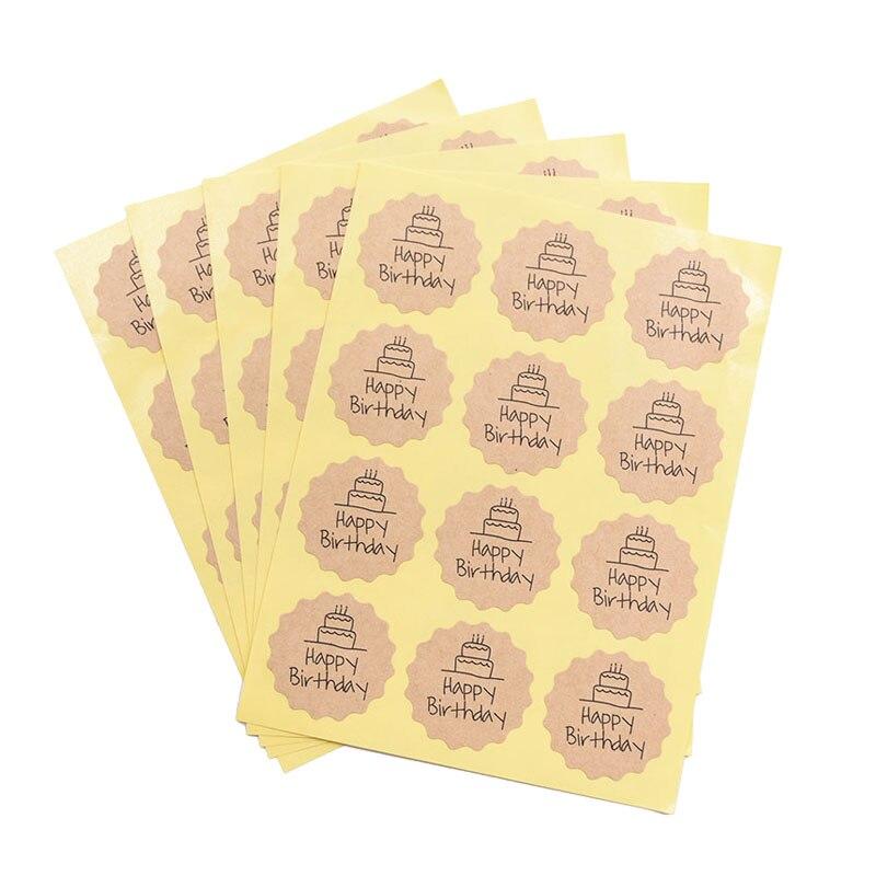 5 Sheets Black White HAPPY BIRTHDAY Sticker Adhesive Kraft Seal Sticker For Birthday Party Decor DIY Baking Gift Label 4 Styles