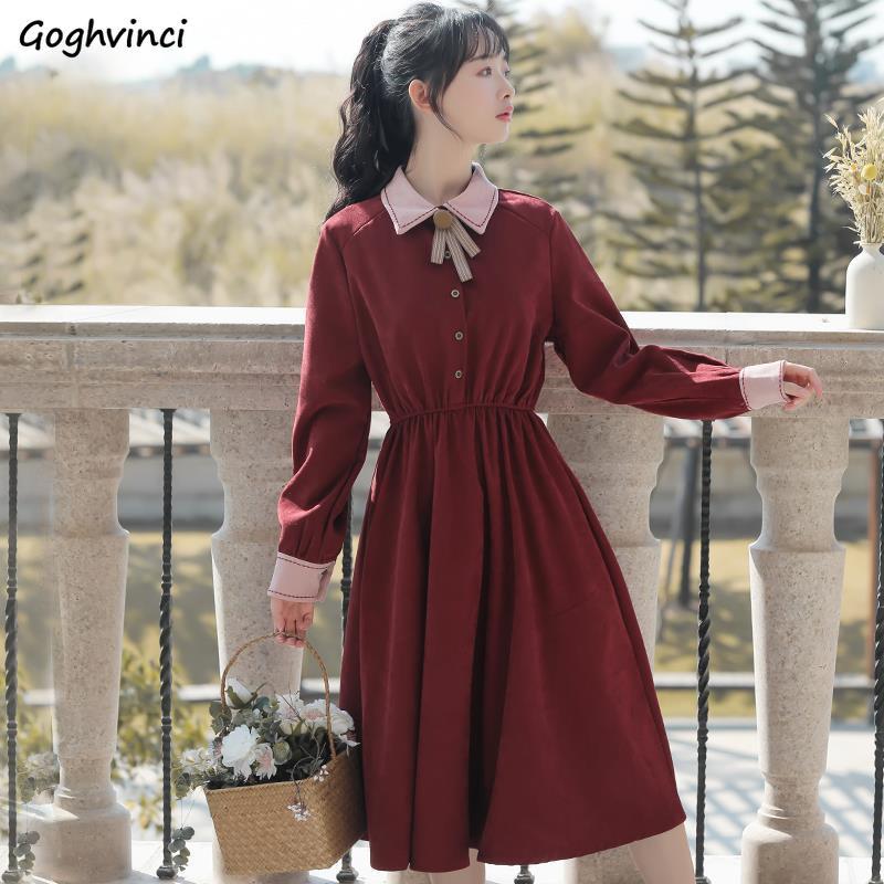 Patchwork Long Sleeve Preppy Style Dress Women Elegant A-line Slim All-match Elegant Sweet Kawaii Students Vintage Chic Stylish