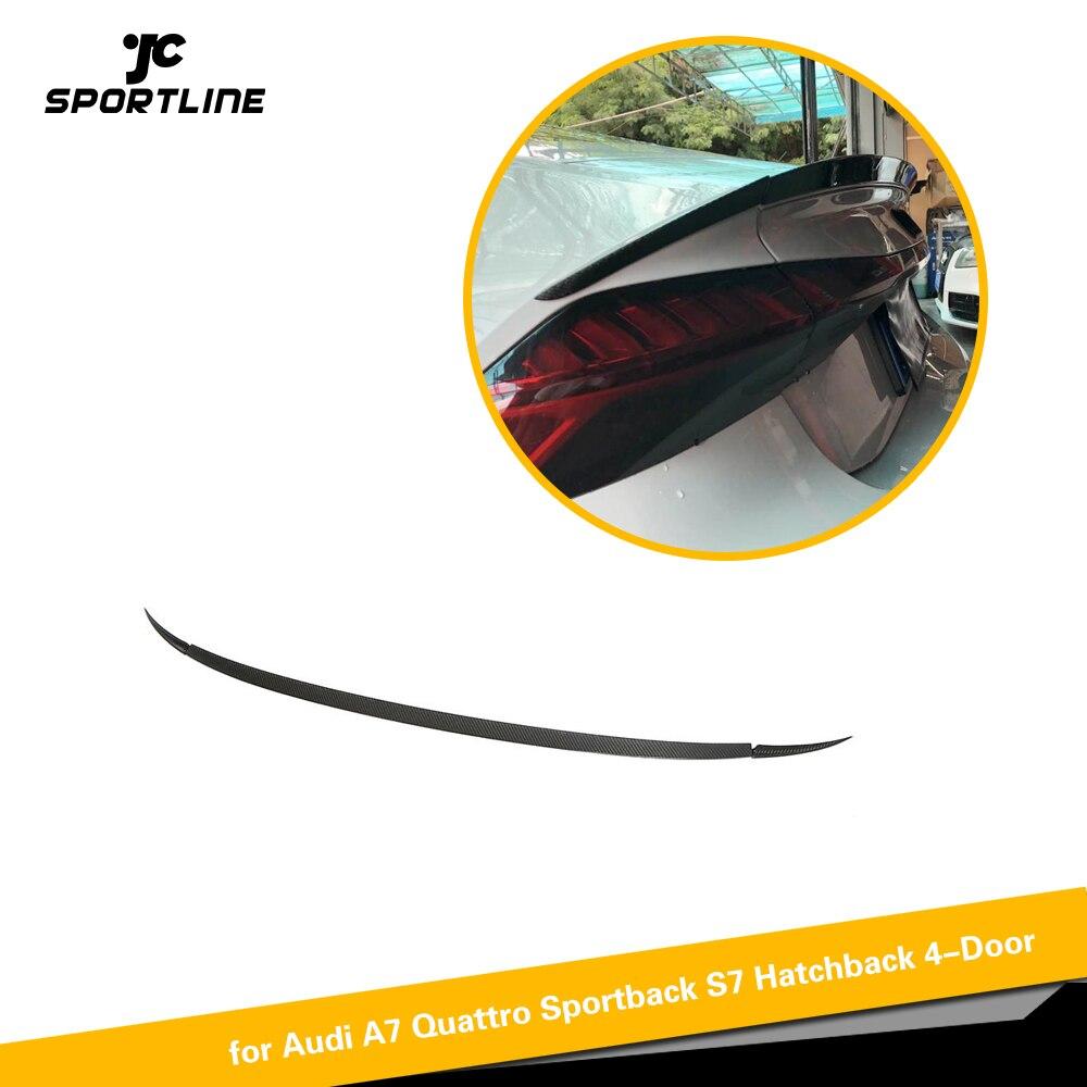 Otomobiller ve Motosikletler'ten Rüzgarlık ve Kanatlar'de Karbon Fiber arka bagaj Spoiler Boot dudak kanat Audi A7 S7 s hattı 2019 2020 title=