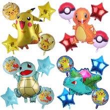 5 pçs pikachuing balões dos desenhos animados anime tema folha balões feliz aniversário dragão dourado relâmpago festa de criança decoração crianças brinquedo
