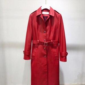 Image 3 - אמיתי עור מעיל נשים 2020 אביב אמיתי כבש טנץ מעיל נשי ארוך מעיל עם חגורה