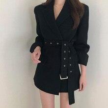 Women Autumn woolen Blazers Jacket Long Sleeve Sashes Chic K
