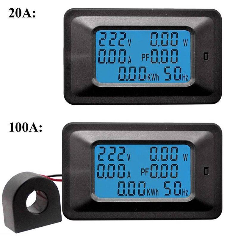 Digital Voltage Power Energy Voltmeter Ammeter Meters Indicator Current Amps Volt Wattmeter Tester Detector 110~250V 20A 100A