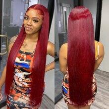 Perruque Lace Front Wig naturelle lisse et transparente, cheveux humains, couleur rouge bordeaux 99j, 30 pouces, pre-plucked Hd, pour femmes, perruque cheveux humain, perruque avant en dentelle droite