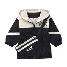 цена Boy girl Denim Jackets kids jeans coat Children splice Outerwear clothing Spring Autumn boy hooded sport Clothes For 4-12T kids онлайн в 2017 году