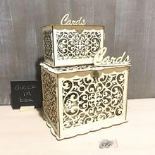 DIY Wooden Hollowed Letter Storage Box Small Cases for Gift Wedding Cards with Lock