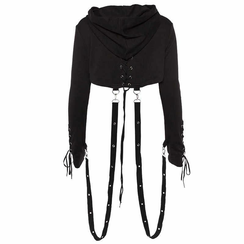 Gorący bubel damska seksowna bluzka sznurowana typu crop Top krótka bluza z kapturem damska Halloween Gothic Punk bluza z kapturem kobiet topy z kapturem czarny