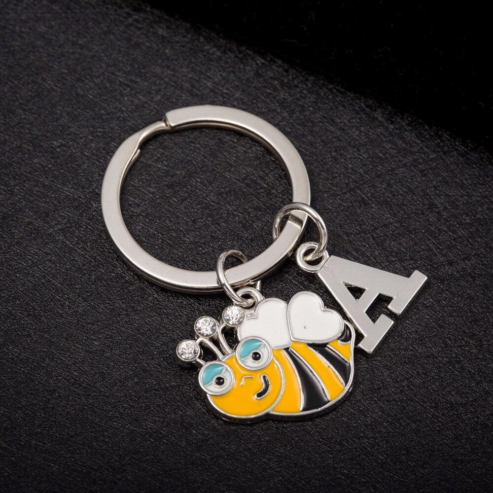 Bee Personalised Square Acrylic Keyring