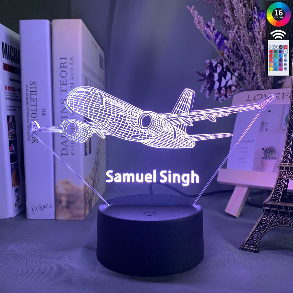 Custom 3d Lamp Airplane Hologram Baby Night Light Cool Name Customization Nightlight For Child Bedroom Decor 3d Led Night Light image