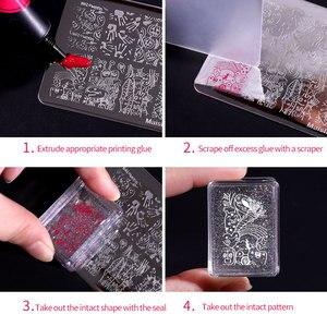 Image 5 - 1 Juego de rasquetas estampador de uñas de silicona, transparente, Asa transparente, para estampado de plantillas, bricolaje, herramientas de manicura