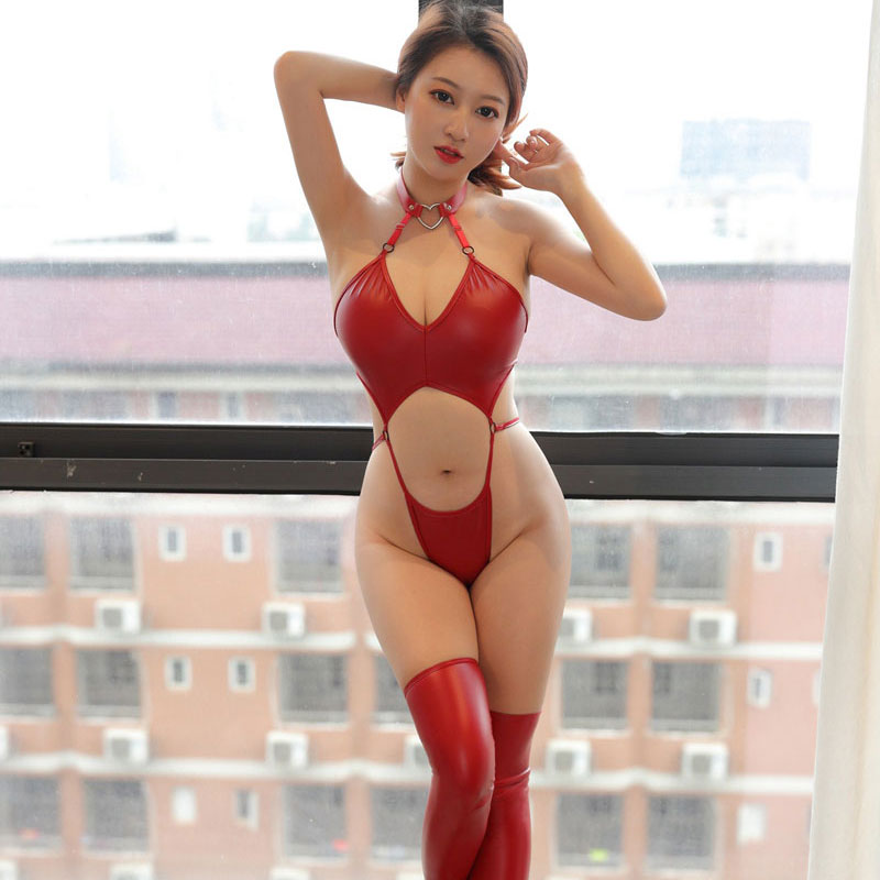 Sexy Hollow Out HIgh Cut Bodysuit Bandage PU Shiny Faux Leather Stripe Backless Gothic Bodysuit Erotic Lingerie Sexy Wear 16
