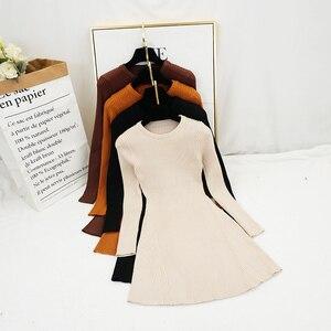 New Women Vintage Dress Auutmn Winter Long Sleeve Slim A Line Short Sweater Dresses Eleagnt Ladies Knitted Robe Vestidos Mujer