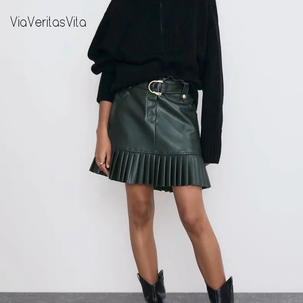 New Color Green PU Suede Womens Zora Pleated Skirt High Waist Zoravicky Faux Leather Sashes Skirt Faldas Womens Office Skirts