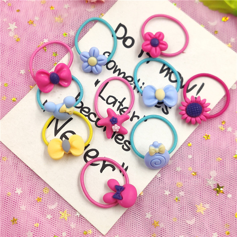 10PCS Lovely Flowers Elastic Hair Bands Toys For Girls Handmade Bow Headband Scrunchy Kids Hair Accessories For Womens