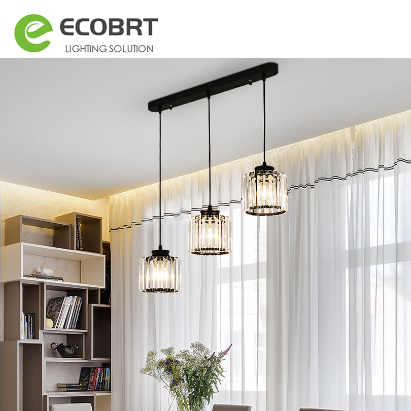 Modern LED Crystal <font><b>Pendant</b></font> <font><b>Lights</b></font> Black / Gold <font><b>3</b></font> heads <font><b>Pendant</b></font> <font><b>Light</b></font> Bar Study Dining Room Lamp Hanging Ceiling Kitchen <font><b>lights</b></font> image