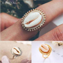 X-ROYAL 2019 New Creative Alloy Shell Women Open Rings Gold Silver Boho Style Summer Seaside Travelling Female Classic
