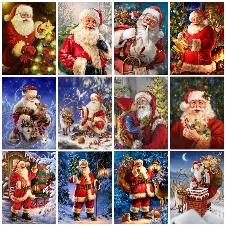 AZQSD Painting By Numbers Santa Claus Pictures DIY Frameless Paint On Canvas Hand Painted Oil Drawing Painting Christmas Gift