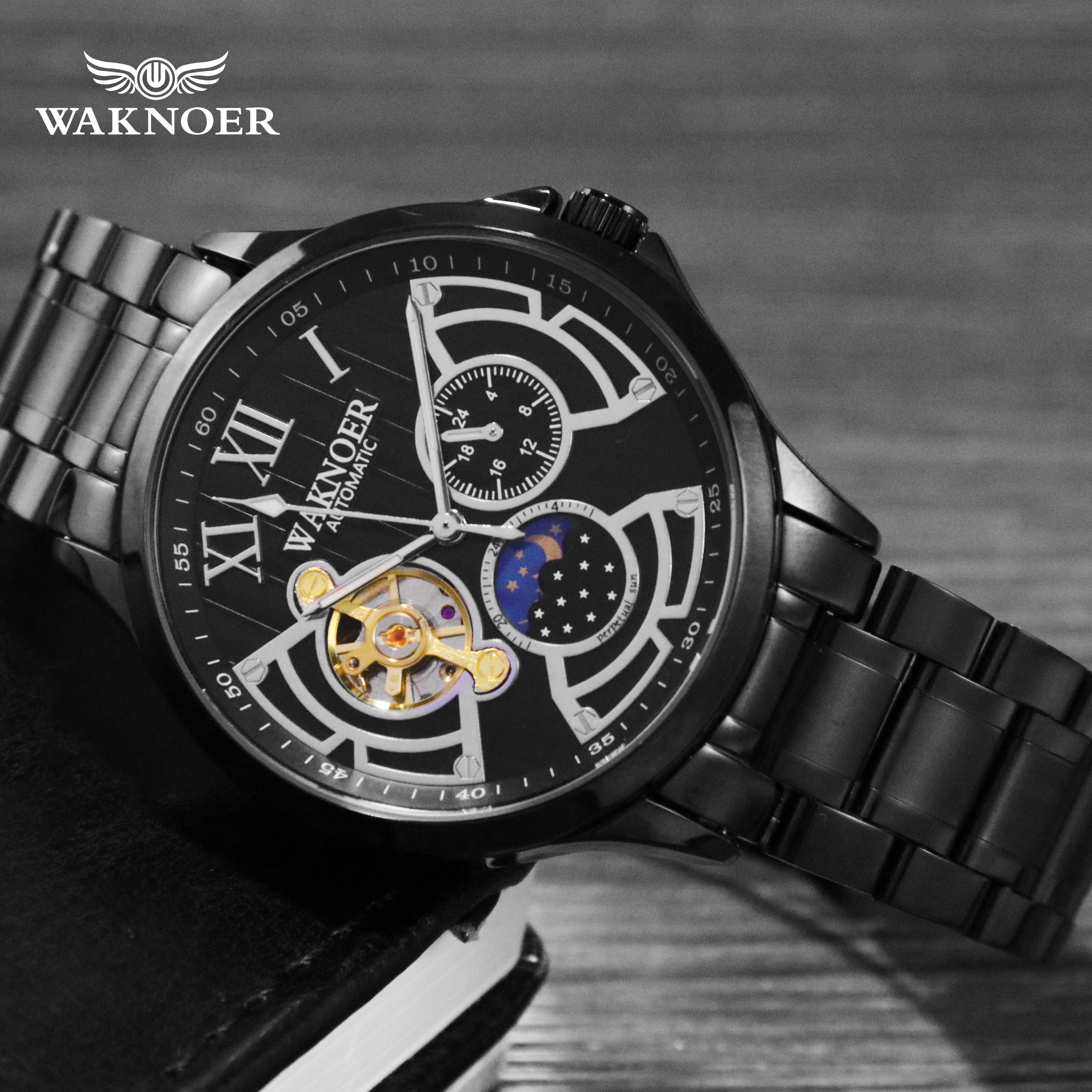 WAKNOER Automatic Mechanical Watch Men Stainless Waterproof Moon Phase Luminous Luxury Gold Business Tourbillon Montre Homme