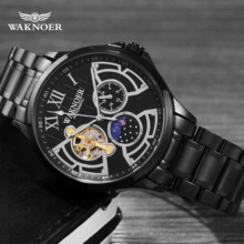 Waknoer 自動機械式時計男性ステンレス防水ムーンフェイズ発光高級ゴールドビジネストゥールビヨン montre オム