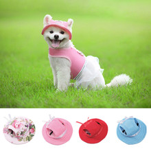 Pet Dog Cap Breathable Summer Adjustable Sunhat Cloth Mesh Canvas Hat For Small Medium Dogs Cats Caps Pet Products