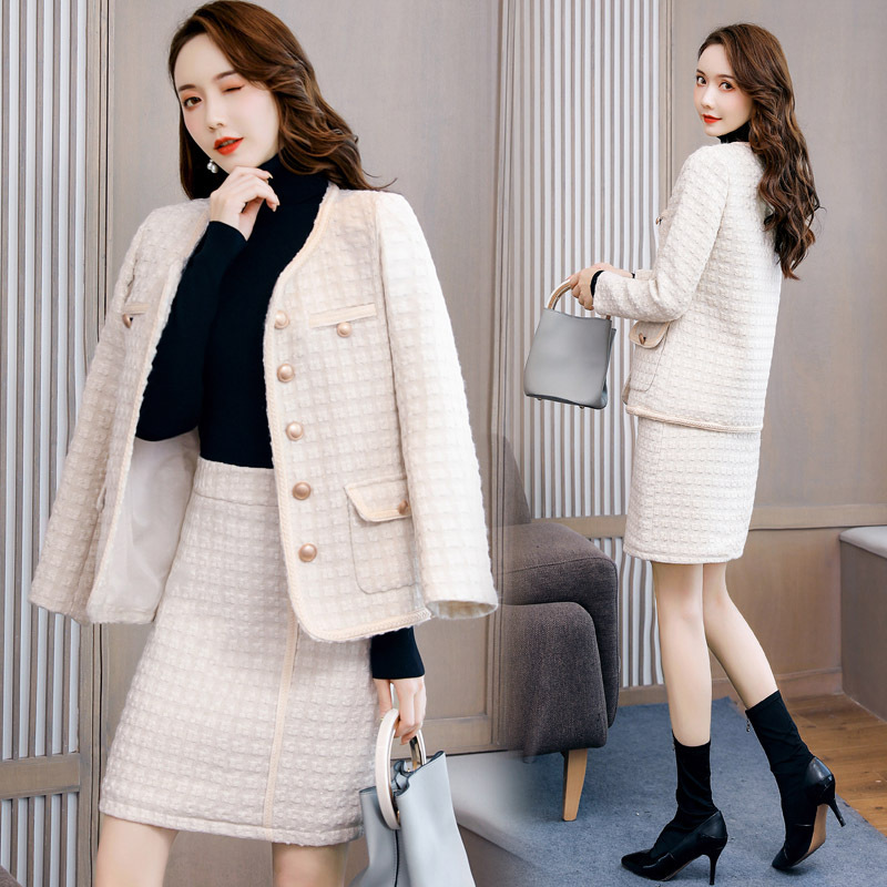 2019 Winter New Style Korean-style Elegant Slim Fit Fashion Graceful Trend Two-Piece Set Suit Skirt